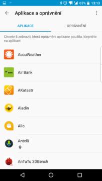 Seznam nainstalovaných aplikací