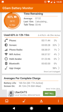 GSam Battery Monitor: celkový přehled