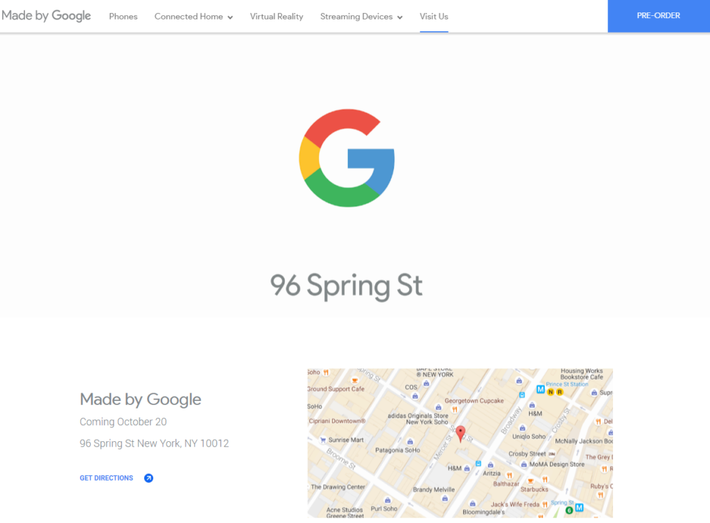 Kamenný obchod Google bude otevřen ve čtvrtek 20. října na adrese 96 Spring St New York, NY 10012