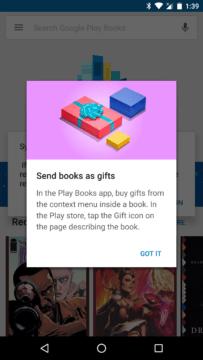 Dialog informuje o možnosti darovat e-knihu