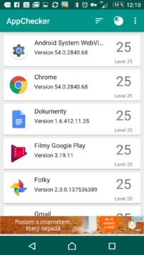 Zobrazení čísla verze API