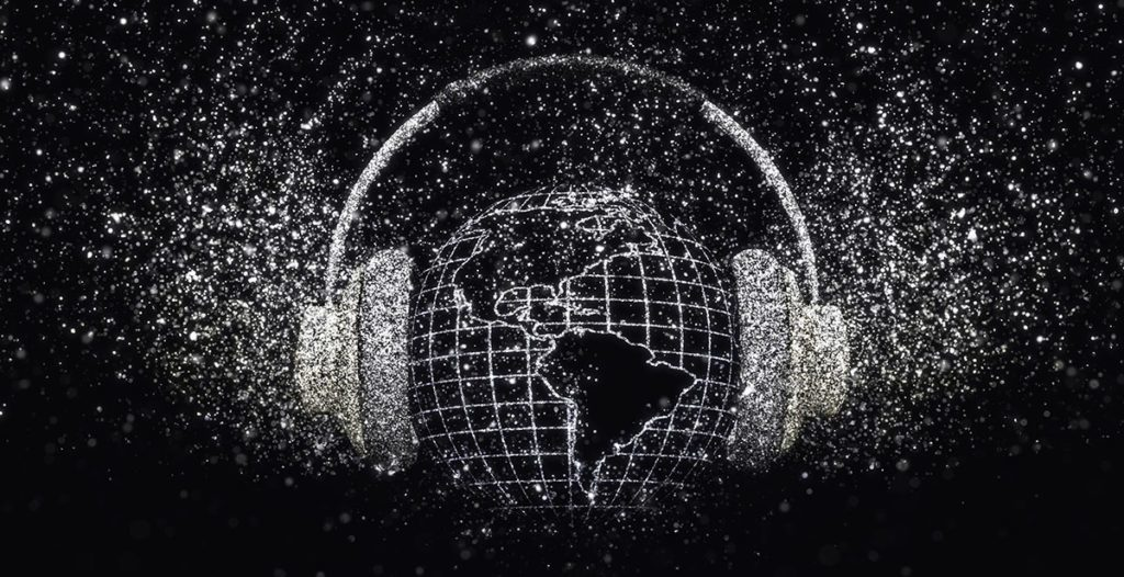 3D render of a globe with headphones with glittery effect on black background