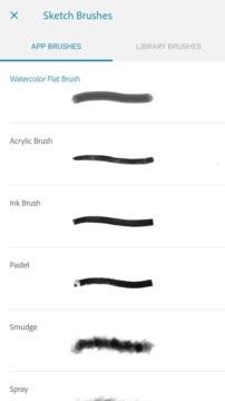 Adobe Photoshop Sketch - výběr nástroje