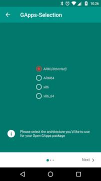 Open GApps - výběr platformy