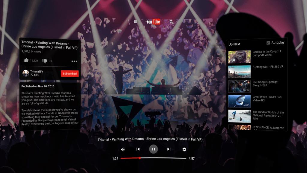 Aplikace YouTube VR