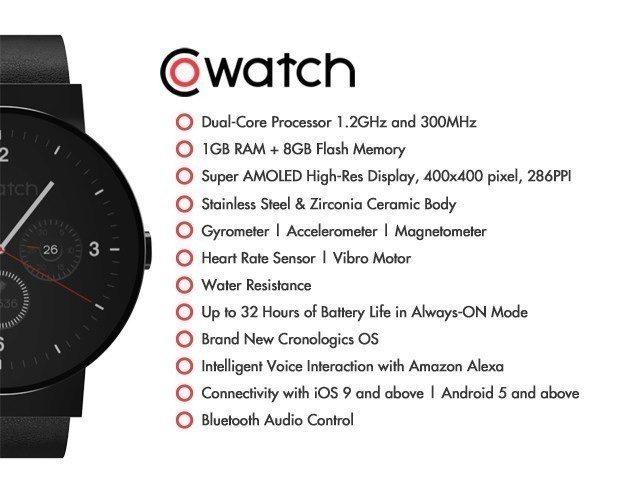 Vlastnosti hodinek CoWatch