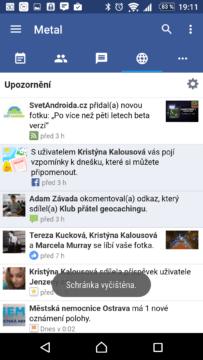 Sekce upozornění Facebooku