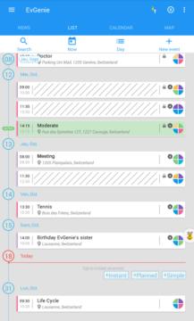 EvGenie: zobrazení kalendáře