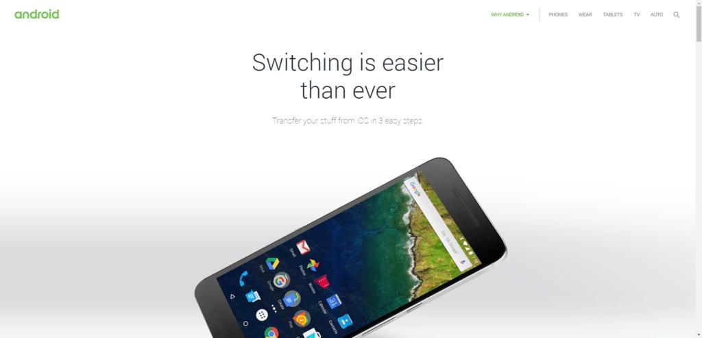 Web s pokyny pro zákazníky, kteří přecházejí z iOS na Android