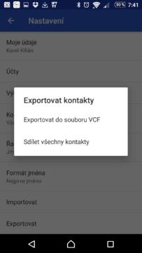 Dialog exportu kontaktů