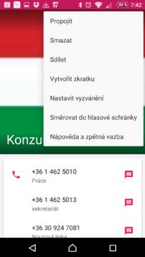 Kontextová nabídka kontaktu