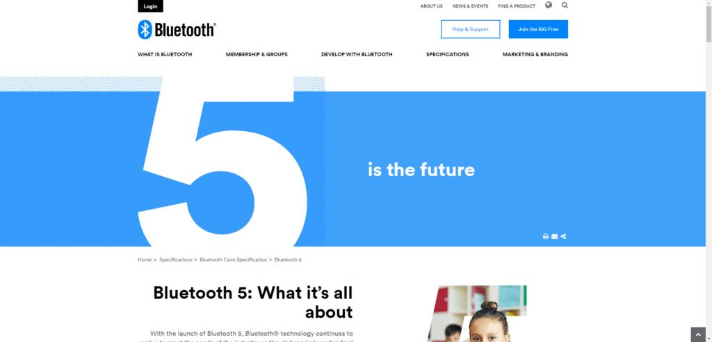Oficiální stránka k novému standardu Bluetooth 5.0