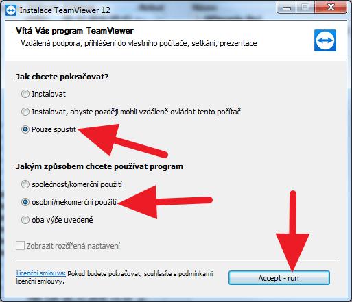 TeamViewer v režimu spuštění