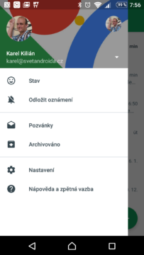 Nová verze Hangouts nemá kontakty v postranní nabídce