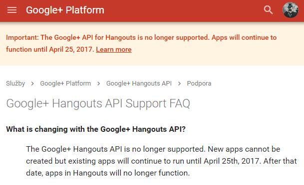 hangouts api - oznámení o zastavení podpory