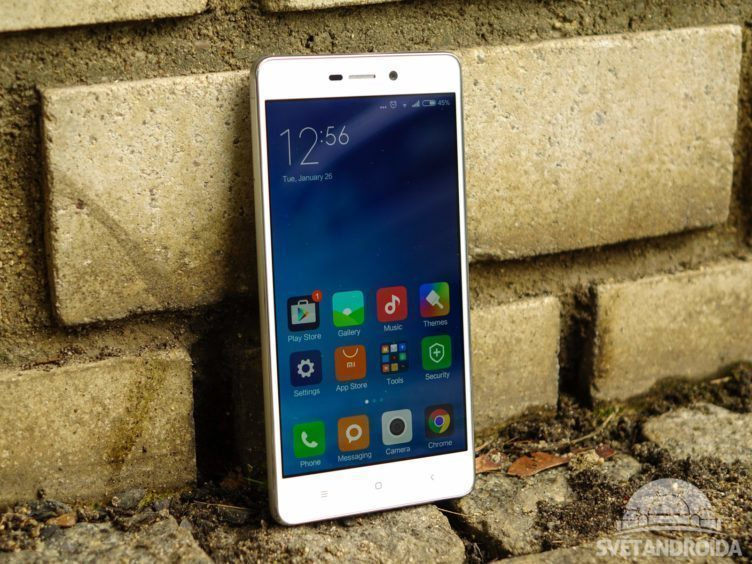 Xiaomi Redmi 3 - konstrukce, pohled zepředu