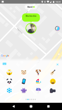 Zenly - textování - příchozí zpráva