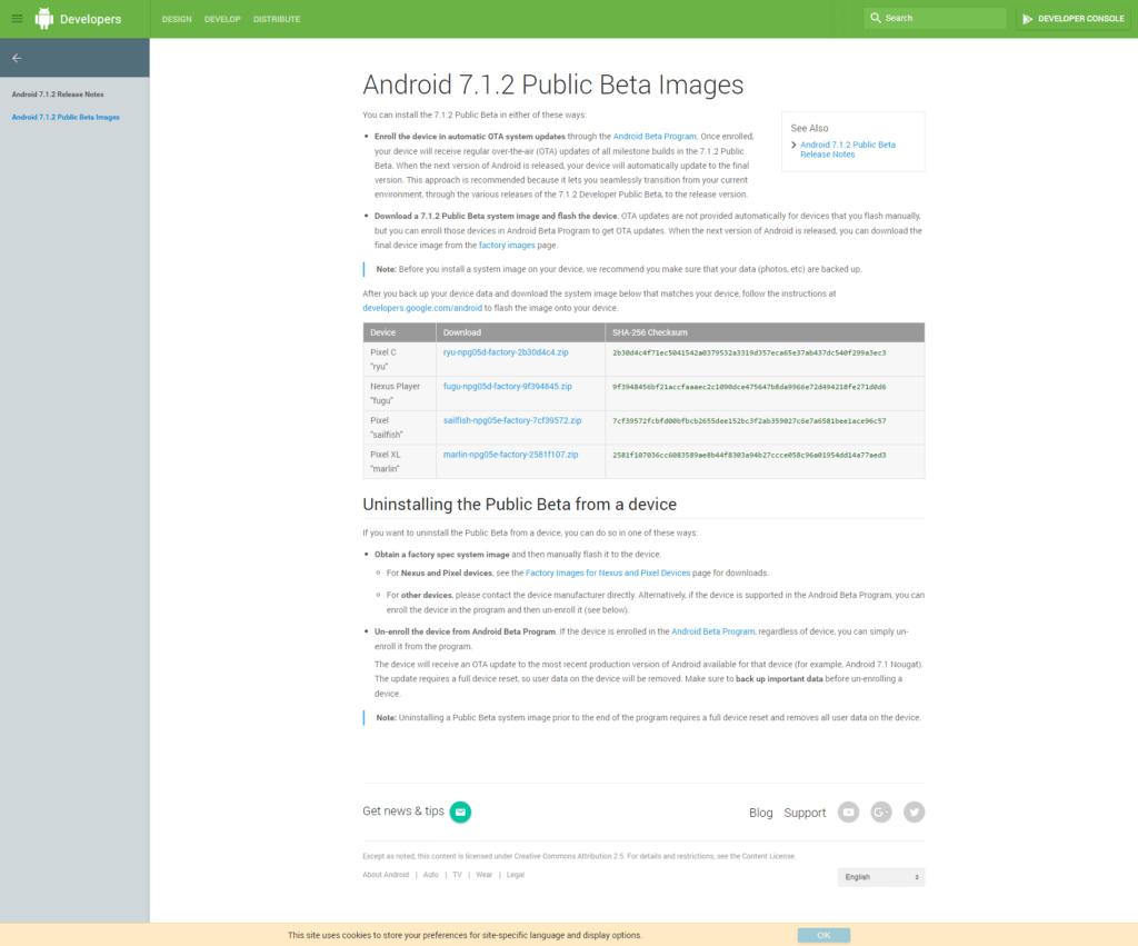 Na oficiálních stránkách pro vývojáře jsou připraveny ke stažení tovární obrazy systému Android 7.1.2 beta