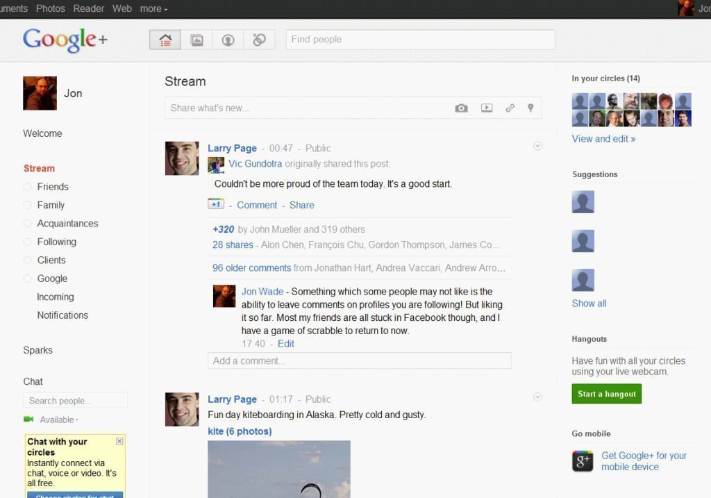 Takto vypadala sociální síť Google+ v roce 2011