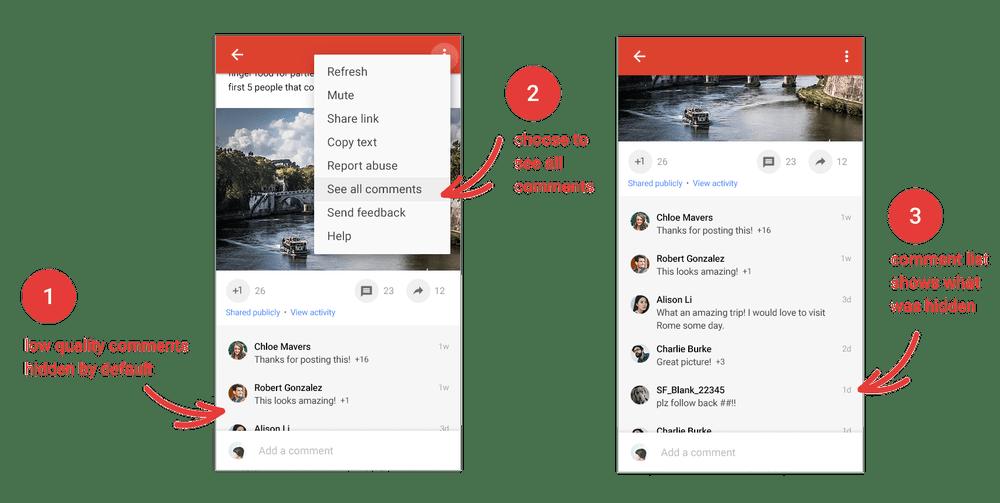 """Mezi hlavní novinky v Google+ patří skrývání """"nekvalitních"""" komentářů"""