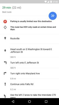 Informace o možnosti parkování v itineráři