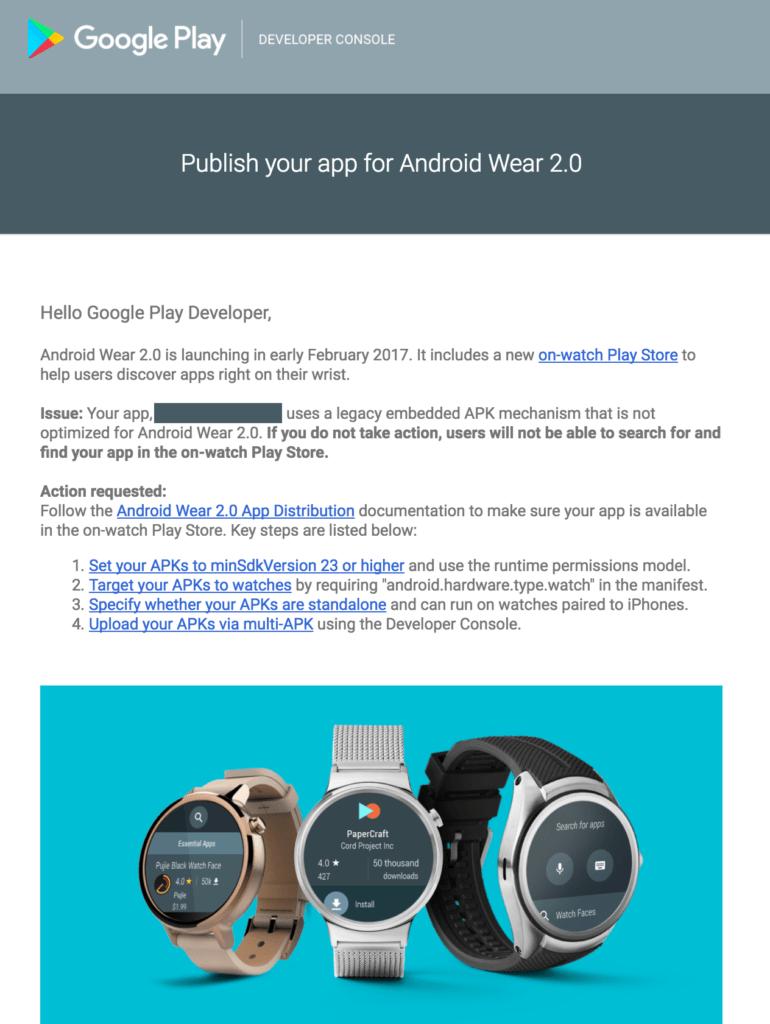 Z e-mailu vývojářům plyne, že Android Wear 2.0 přijde počátkem února