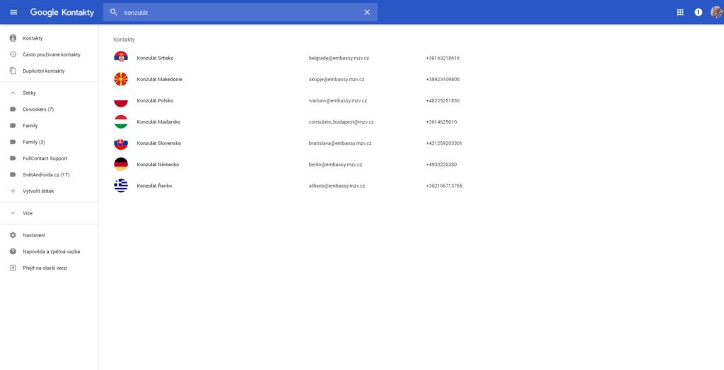 Nové kontakty Google