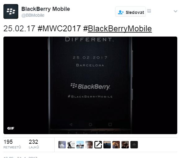 Tweet, podle kterého BlackBerry představí Mercury na MWC