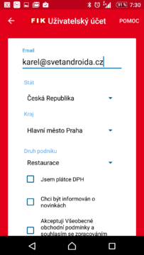 Registrace Kasa FIK