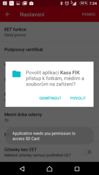 Nahrávání certifikátu - přístup