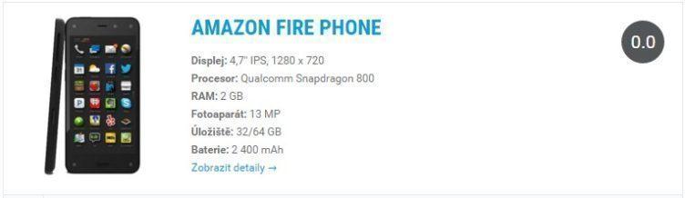 Amazon Fire Phone - widget katalog