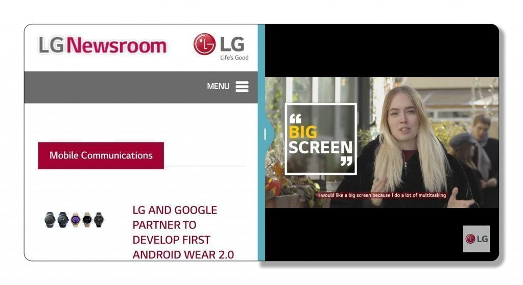 LG UX 6.0 se dvěma čtvercovými okny vedle sebe