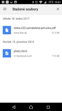 Dosavadní přístup ke staženým souborům a stránkám