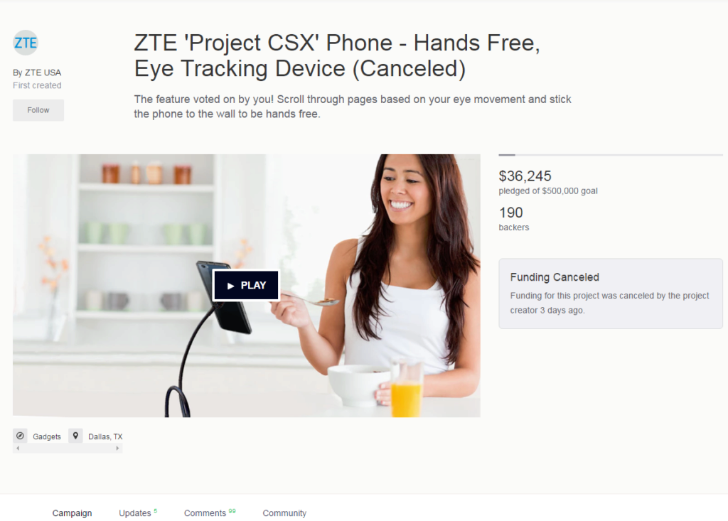 "ZTE zrušilo kampaň na telefon Project CSX ""Hawkeye"" na Kickstarteru"