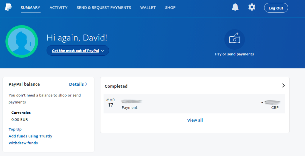 Úvodní obrazovka PayPalu po přihlášení