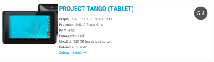 Project Tango tablet - katalog