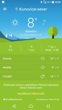 Xperia XZ počasí