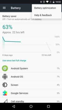 Nabídka v Androidu 7.1.2 beta 1