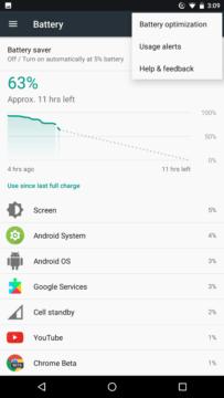 Nabídka v Androidu 7.1.2 beta 2