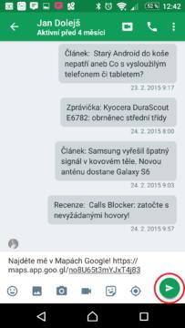 Odeslání odkazu přes Hangouts