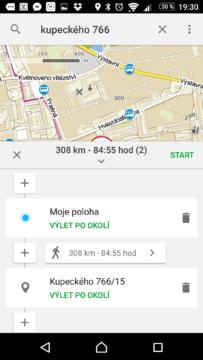 Mapy.cz Nastavení trasy