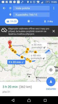 Mapy Google Nabídka navržených tras