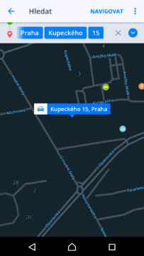 Sygic GPS Navigace a Mapy Výběr cíle trasy