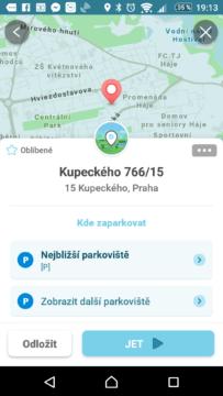 Waze - GPS, Mapy & Doprava Výběr cíle s možností hledání parkování