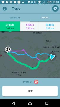 Waze - GPS, Mapy & Doprava Nabídka alternativních tras