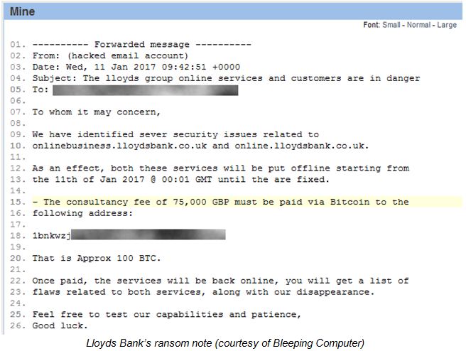 Výhrůžný e-mail bance Lloyds