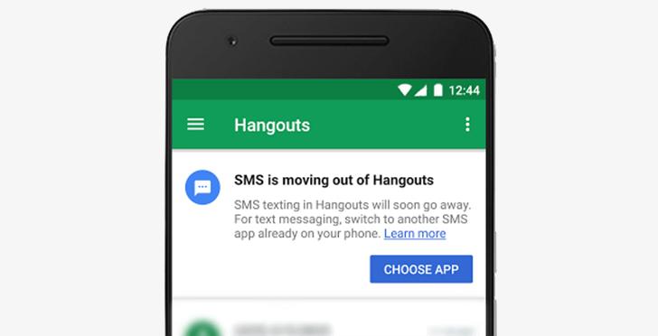 Upozornění, že Hangouts ukončí podporu SMS