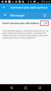 Zakázali jsme Messengeru vykreslení přes další aplikace