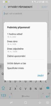 Samsung Galaxy S8 recenze Bixby upomínka nastavení
