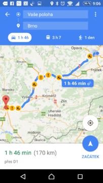 Mapy Google ví o dění na trase